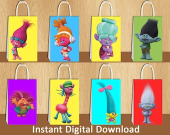 Personalized Tote Bag Personalized Tote Poppy trolls Tote Birthday Trolls Trolls Gift Trolls Party Trolls Tote Bag Personalized Trolls