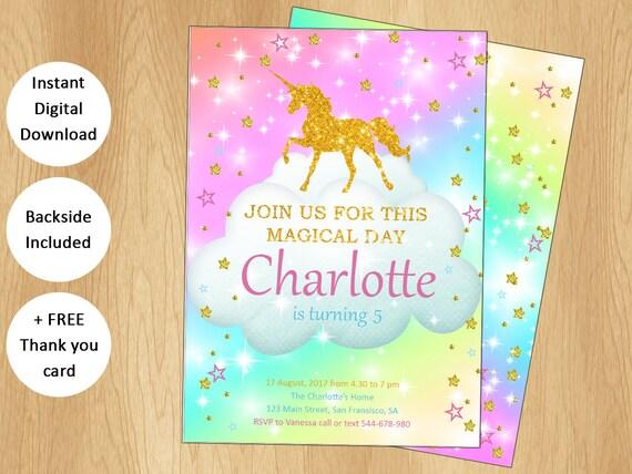 Invitation De Licorne Magique Et Obtenir Une Carte Gratuite Merci Licorne Invitation Invitation Anniversaire Licorne Glitter Licorne