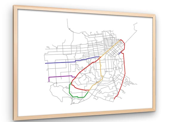 San Francisco MUNI Transit Printable Map - SF Train and Bus System,  Accurate Map and Routes, Instant Download