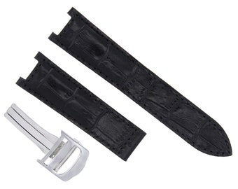 02feb435d705 Genuine Leather Band Strap Clasp For Fit 38mm Cartier Pasha 20mm Black  2Pc  Ss