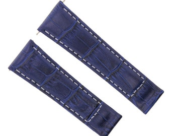 54e9d60b4 20mm Leather Watch Band Strap For Rolex Daytona 116519, 116520 Blue Ws  Short #4D. Ewatchparts ...