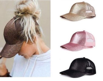 273b06006b1 Ponycap Messy High Bun Ponytail Adjustable Glitter Mesh Trucker Baseball Cap