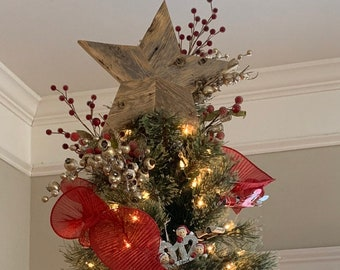 Rustic Wooden Star Christmas tree topper