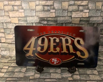 2 PC NEW Football Team San Francisco 49ERS Metal Black License Plate Frame