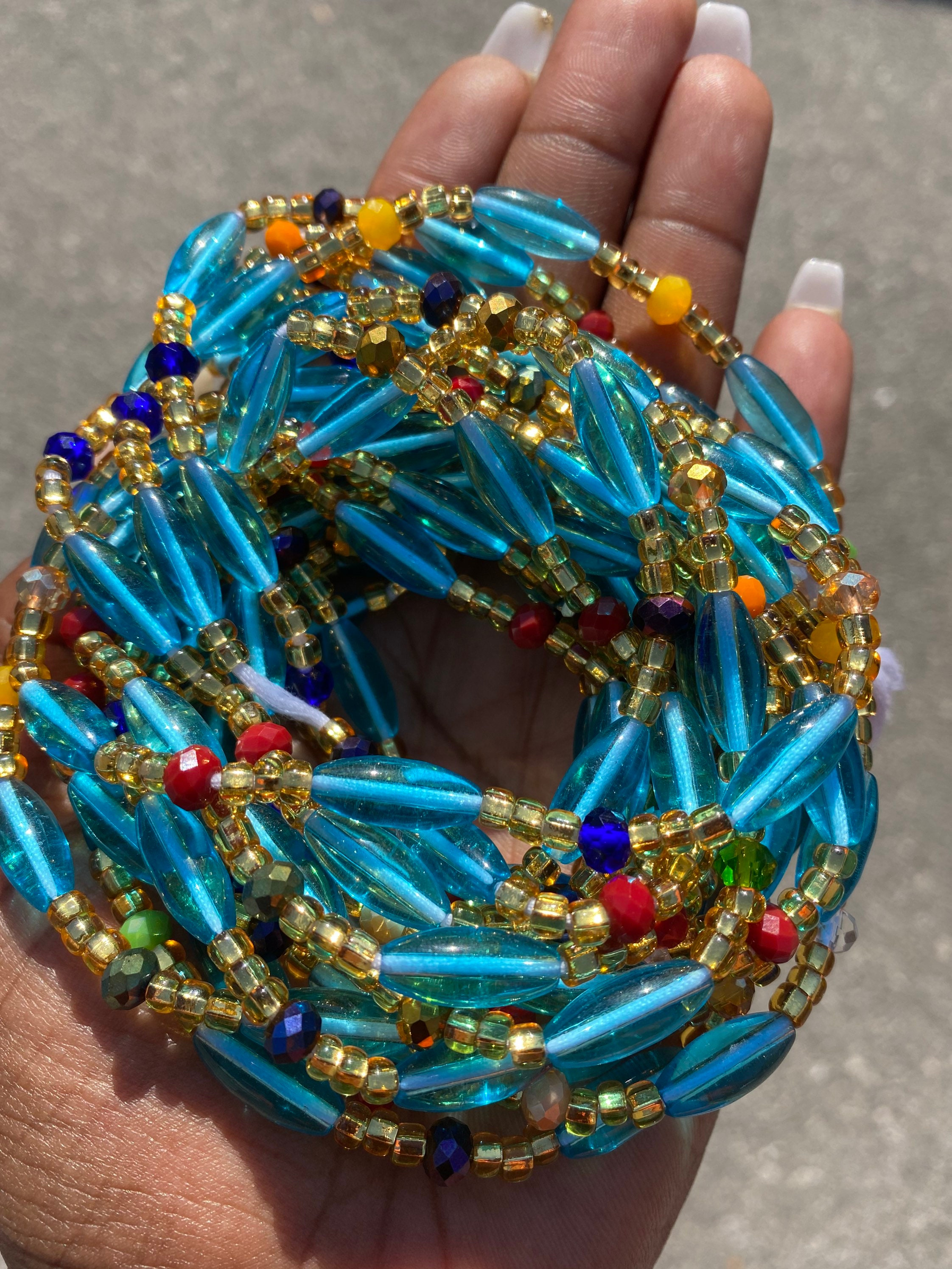 Sizable Seed Beads Blue Waist Beads Beaded Belly Chain African Waist Beads