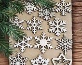 Set of 12x Christmas Wooden Snowflake Ornaments Laser Cut Wood Decor Christmas Gift