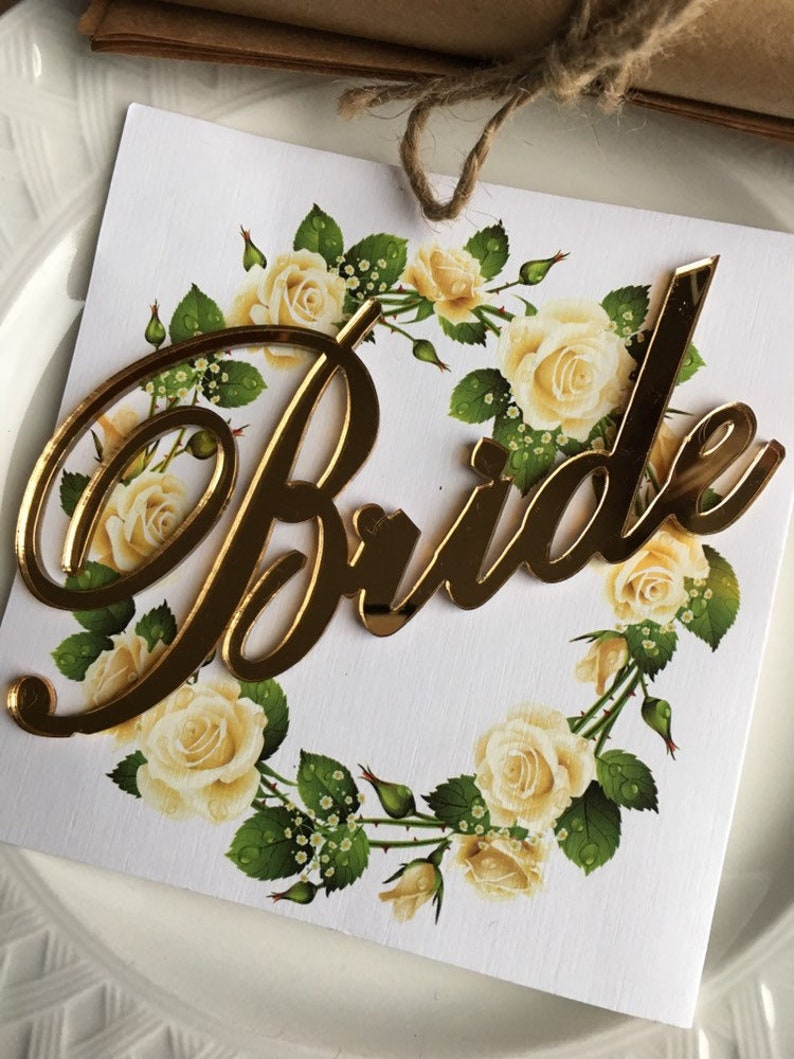 Weddings Bride Groom Place card,Wedding signs,Table setting Bride and Groom Mirror Gold Large Place Signs