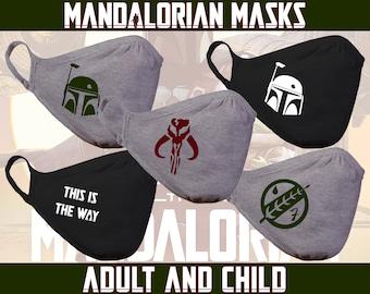 Star Wars Boba Fett Mask   Mandalorian   Mythosaur   Cotton/Polyester DUAL layer fabric face mask   Ships from the US
