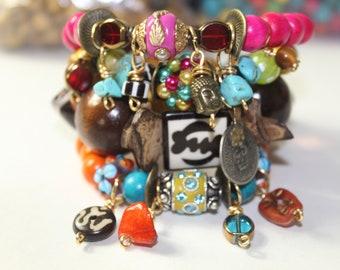 Boho Bone Rondelle Gypsy Stretch Charm Stack Bracelets (4)