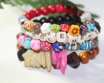 Entanglement Word Bracelet & Beaded Bracelet Stacks