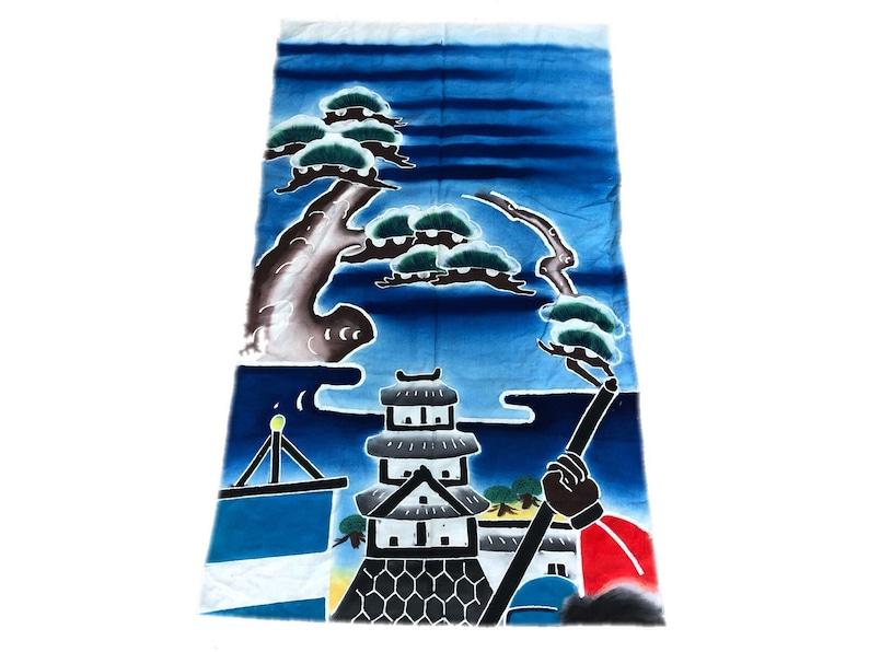 Tsutsugaki color flag castle and pine trees Japanese vintage