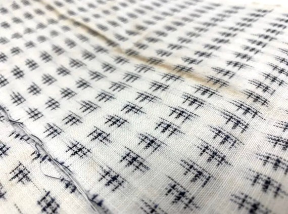 White linen kasuri kimono unsew and washed Japanese vintage