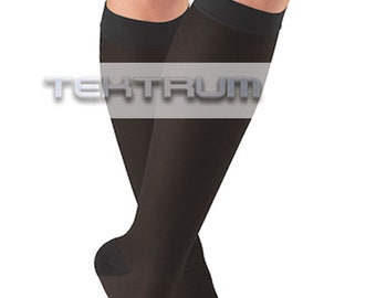 5fec01c4617 Tektrum - Pair of Knee High Firm Graduated Compression Socks 23-32mmHg for  Men Women - for Pregnancy
