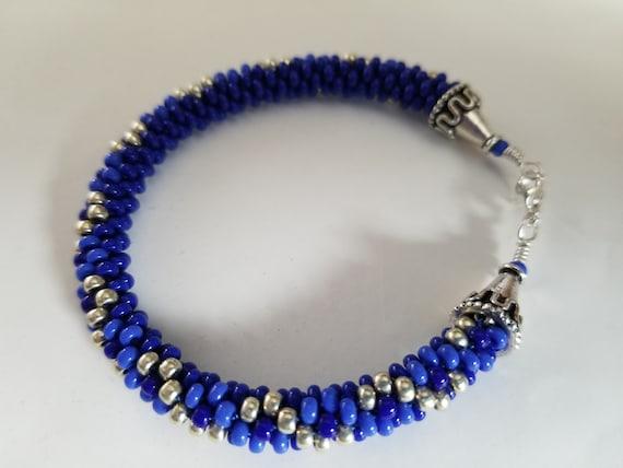 Personalized Bracelet Multicolor Beaded Bracelet Kumihimo Beaded Bracelet Magatama and Drop Striped Bracelet Custom Pattern Jewelry