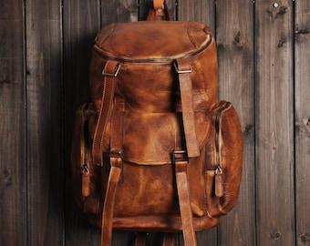 28f66ef7e265 Distressed Leather Backpack, Mens Leather Backpack, Leather Rucksack, Travel  Backpack, Oversized Backpack, Unisex Backpack, Weekend Holdall