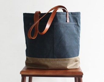 69885a804e8 Handmade Large Canvas Tote Bag with Leather Handles Shopper Bag Shoulder Bag  Casual Canvas Handbag Diaper Bag Personalized Bridesmaid Gift