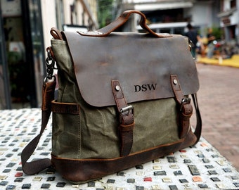 7e624607c9 Handmade Waxed Canvas Messenger Bag Men Satchel Briefcase Vintage Crossbody Bag  Canvas Shoulder Bag 13   Laptop Bag Best Christmas Gift