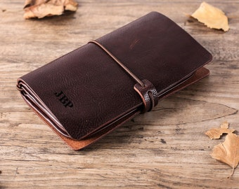7d165449a33 Handcrafted Leather Travel Wallet Personalized Groomsmen Gift with Monogram Mens  Leather Clutch Document Organizer Christmas Gifts