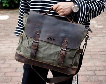 b3c281e346d Handmade Waxed Canvas Messenger Bag Mens Laptop Briefcase Cross Body Bag  Courier Bag Canvas Leather Satchel Bag Christmas Gift ideas