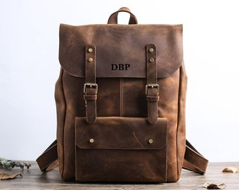 8f17d7ee79d05 Handmade Full Grain Leather School Backpack Travel Backpack Laptop Backpack  Daily Backpack Christmas Gifts Personalized Leather Backpack