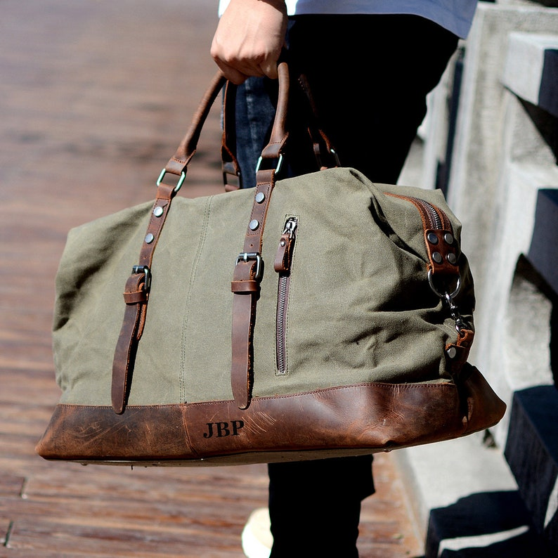 b9b9a7ef4d43 Handmade Waxed Canvas Oversized Weekend Travel Duffel Bag, Carry On Bag,  Luggage Bag, Christmas Gift for Him, Leather Travel Bag, Holdall