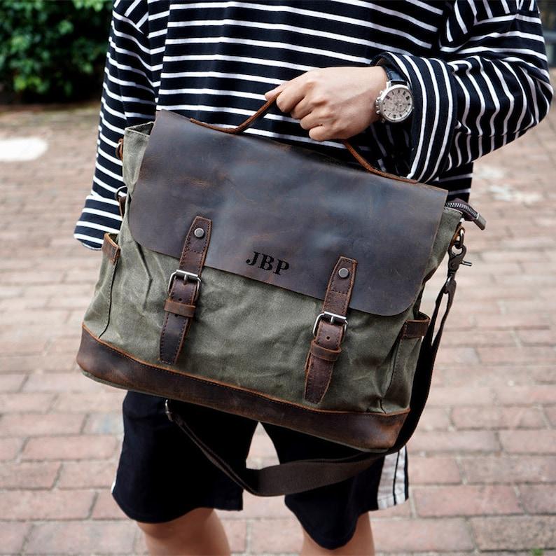 ea75cdfff9ce Handmade Waxed Canvas Messenger Bag Mens Laptop Briefcase Cross Body Bag  Courier Bag Canvas Leather Satchel Bag Christmas Gift ideas