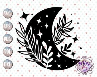 Moon svg Crescent moon svg Boho Mystical Moon clipart Witchy svg Flower moon New moon svg files for cricut Magic moon Bohemian Phases 10-031