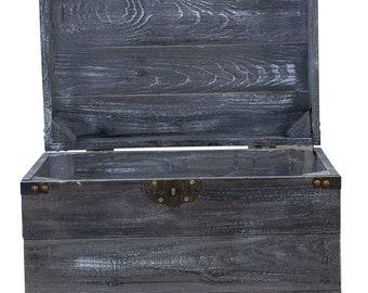 45x35x35cm Vintage M/öbel 24 GmbH 1x Moderne Holzkiste mit Deckel in Shabby schwarz zur Aufbewahrung von kleinem Spielzeug//Bastelutensilien neu