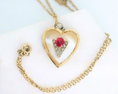 Vintage Gold Heart Locket Synthetic Ruby red stone 12k gold 19 inch chain 1930s 1940s July birthstone gift for her