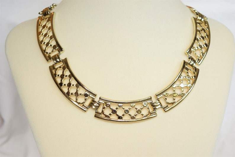 Vintage gold choker necklace 14 oversized links statement necklace by Avon gold tone 1980s costume jewelry gift for her
