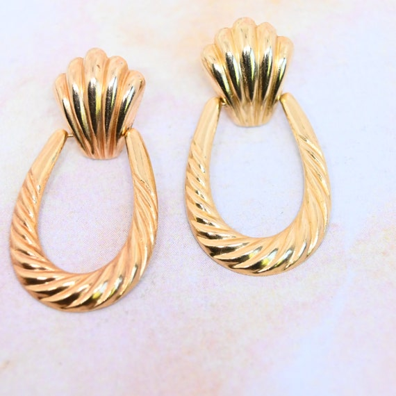 14k gold door knocker earrings 80s gold statement… - image 3