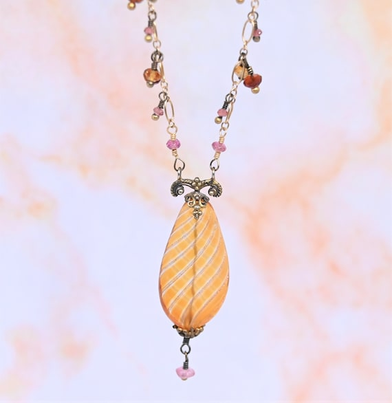 gift for her one of a kind hippie Bohemian womens Daisy fabric necklace pink silk cord beading hand made gold tone pendant