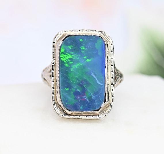 Blue Opal Opal Necklace Blue Stone 925 Silver Filigree Opal Set Birthday Simple Opal Earrings Filigree Opal ring Opal Jewelry Set