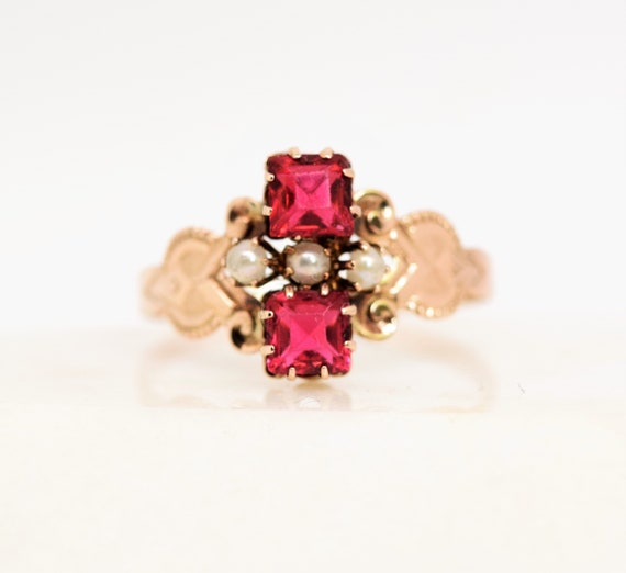 Vintage synthetic ruby ring pearl accent 10k gold… - image 9