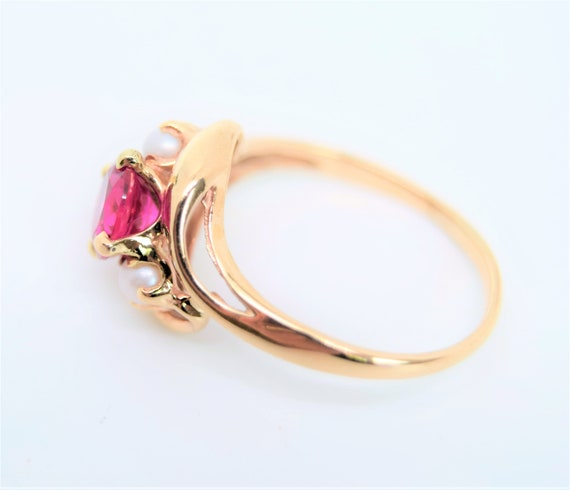 Vintage synthetic ruby ring pearl accent 10k gold… - image 7