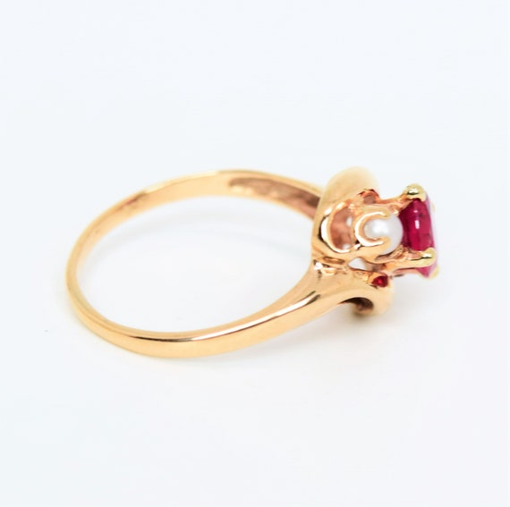 Vintage synthetic ruby ring pearl accent 10k gold… - image 6