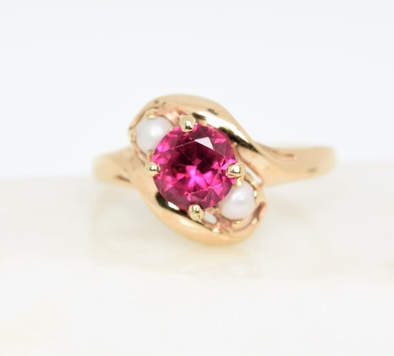 Vintage synthetic ruby ring pearl accent 10k gold… - image 1