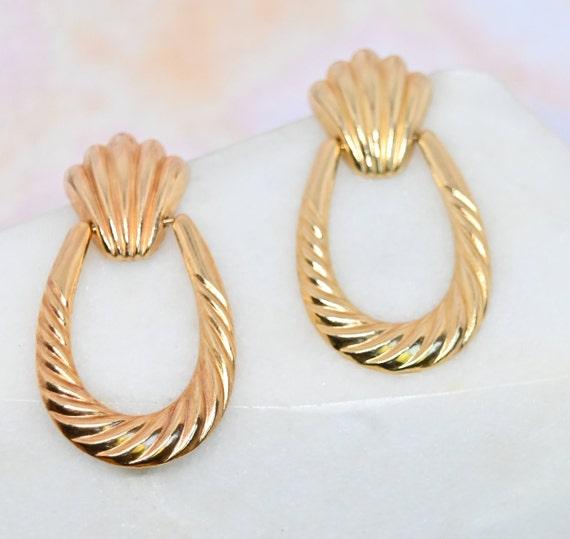 14k gold door knocker earrings 80s gold statement… - image 5