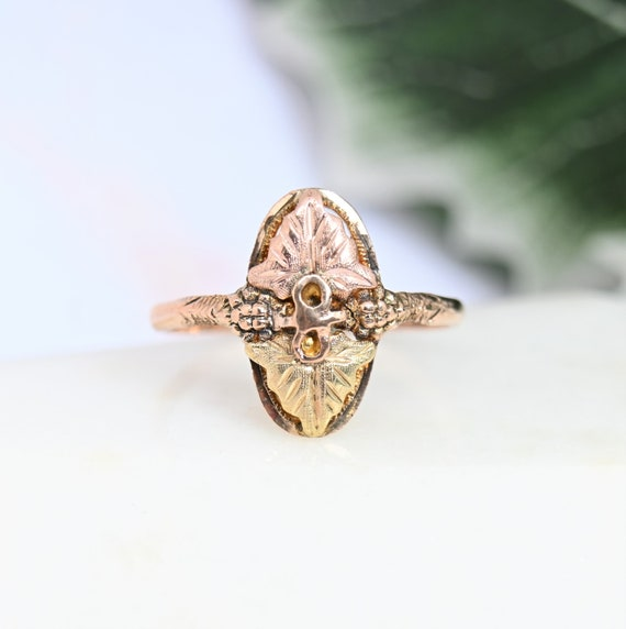 Black Hills Gold band 10k tricolor gold F L Thorpe grapes leaf wedding band rose yellow green gold ring vintage fine jewelry gift for her