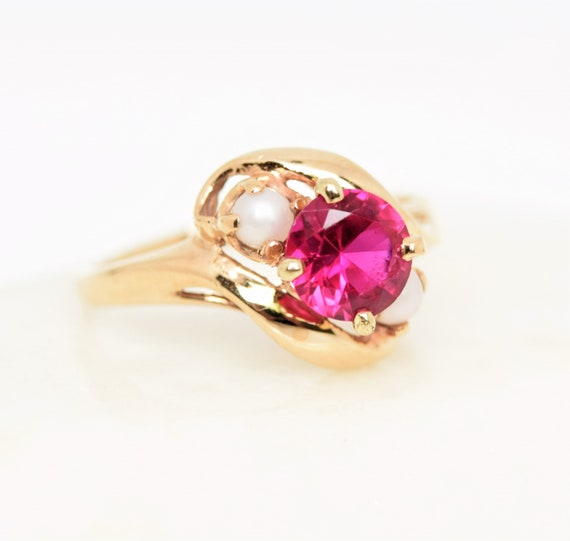 Vintage synthetic ruby ring pearl accent 10k gold… - image 3