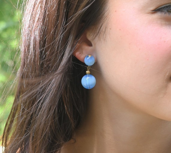 Vintage Blue Bead Earrings Glamorous Blue Bead Cluster Clip On Earrings