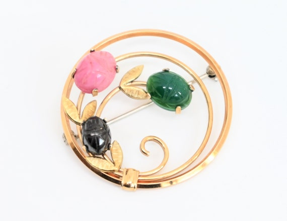 Scarab brooch by Krementz 14k gold overlay circle pin 1940 1950s onyx  jade signed vintage jewelry