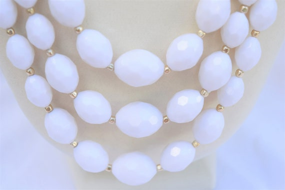 3 strands of Mother of pearl unusual faceted oblong beads Three 16 strands