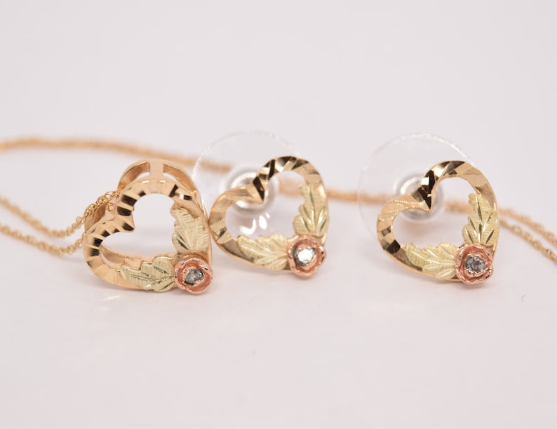 cbcbb07456637 VIntage Black Hills Gold Necklace Earring Set 10k Tricolor Heart Pendant  Yellow, Rose, Green Gold set birthday Easter gift for her