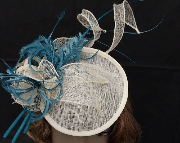 Stylish white and turquoise percher feathered fascinator hat for Kentucky Derby Festival Royal Ascot Summer Wedding Tea Party