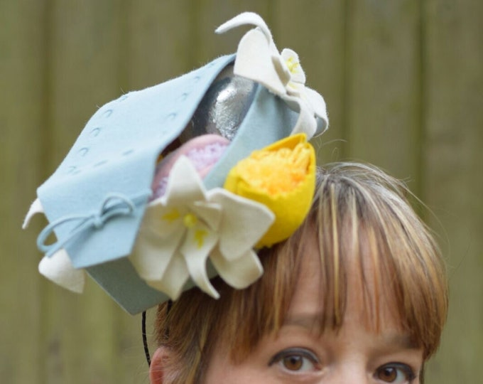 Furfelt Unique Fascinator Hat Baby Blue felt headpiece quircky macarons trimming