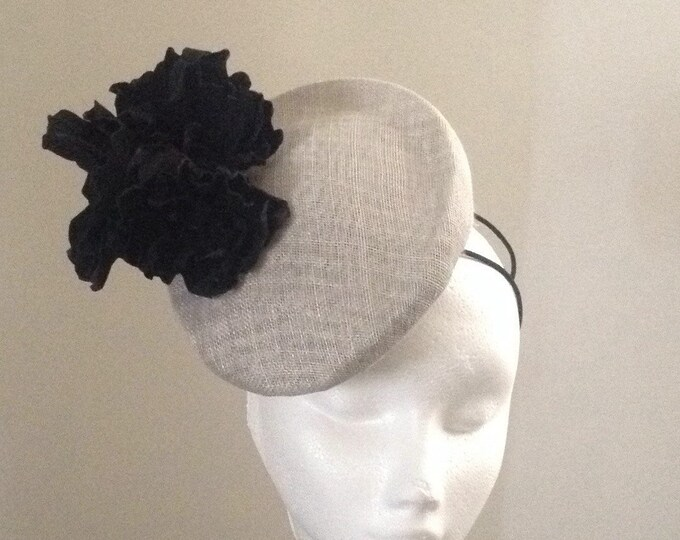 Silver grey fascinator hat sinamay pillbox headpiece trimmed with black genuine leather flowers