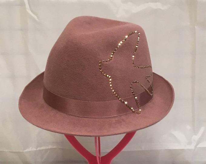 Felt fedora fascinator hat, floppy women hat