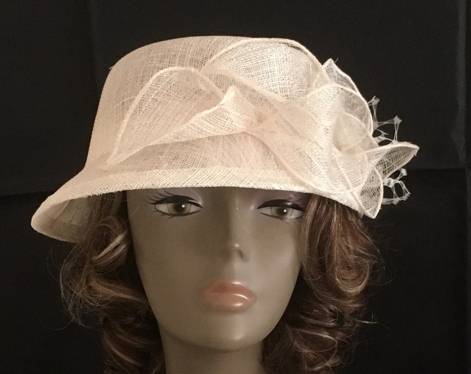 White Fascinator Hat sinamay cap sunhat headpiece millinery sunbonnet wedding casual accessory