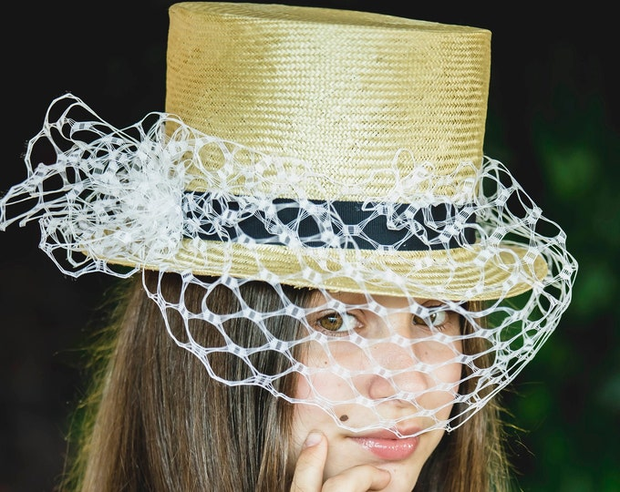 Straw tophat, fascinator hat, bridal headpiece